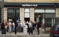 Опашка пред банката Northern Rock във Великобритания, 2007г.